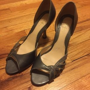Cole Haan silver/grey peep toe heels